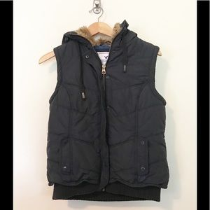 American Eagle Puffer Vest Fur Lined Hood Gray L